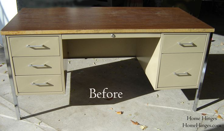 metal office desk makeover | The New Office or Metal Desk Makeover (part 2) « Home Hinges