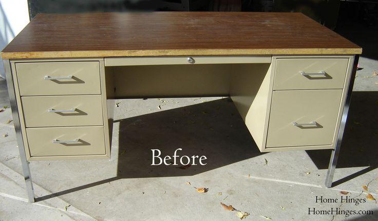 metal office desk makeover | The New Office or Metal Desk Makeover (part 2) « Home Hinges