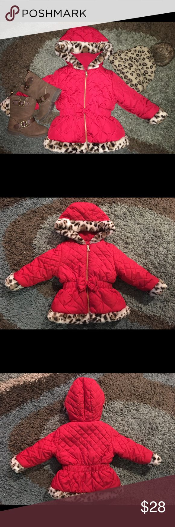 Pistachio brand quilted puffer coat in size 24M/2T Red and cheetah quilted winter coat in LIKE NEW CONDITION size 24M/2T! Accepting all reasonable offers! pistacio Jackets & Coats Puffers