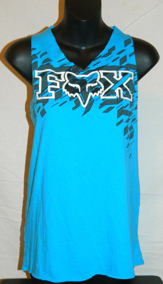 Blue and Black Fox Racing Gym Burnout Cut Workout by BurnoutTees, $14.99