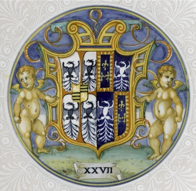 Nicola di Grabriele Sbraghe da Urbano (ca. 1480-1537/38) Service of Isabella d'Este (1474-1539), Arms of Gonzaga impaling Este (detail)