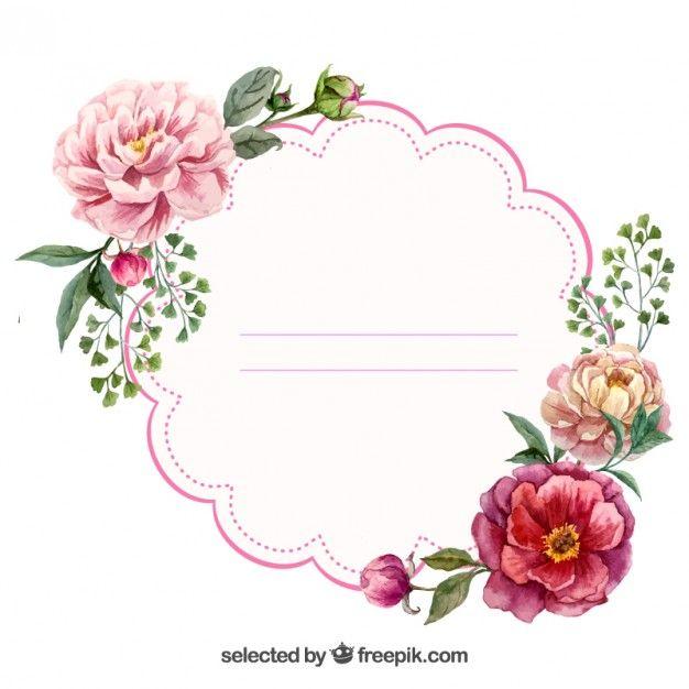 Etiqueta floral Watercolor Vetor grátis
