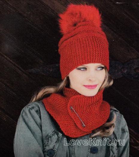 Объемная шапка с помпоном и шарфик схема спицами » Люблю Вязать