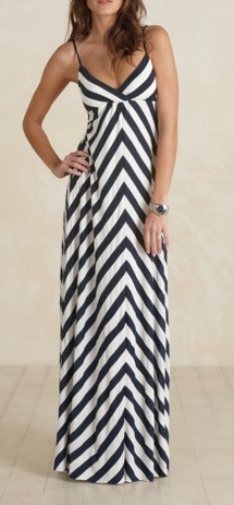 navy and white chevron maxi sundress with a jean jacket