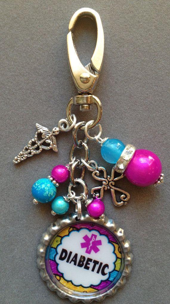 DIABETIC awareness purse clipsilver  bottle cap by KeyChainBling, $16.00