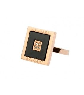 Bvlgari Square Ring in 18kt Pink Gold with Black Onyx and Pave D
