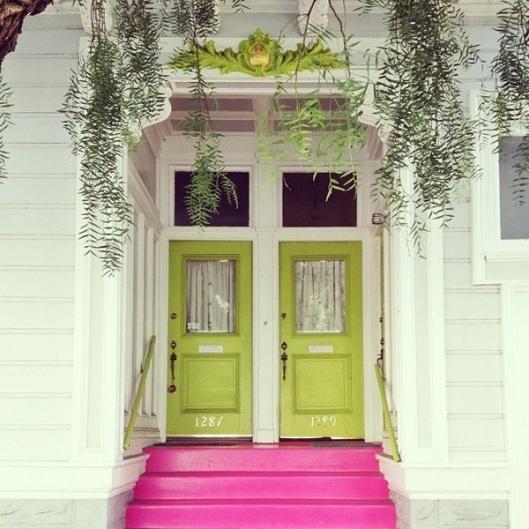 lime doors + pink steps