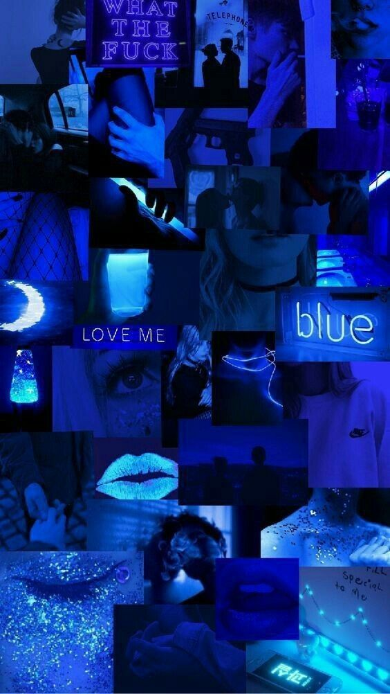 Free Collage Iphone Neon Blue Aesthetic Wallpaper Pics