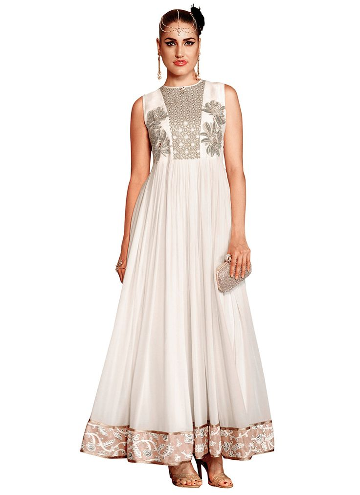 Off White Georgette Ankle Length Anarkali