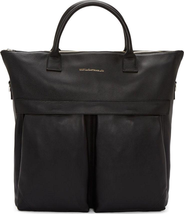 Want Les Essentiels de la Vie Black Leather OHare Shopper Tote. The ultimate man bag. https://www.ssense.com/en-us/men/product/want-les-essentiels-de-la-vie/black-leather-ohare-shopper-tote/110995?utm_term=10569670&utm_content=buffer507c8&utm_medium=social&utm_source=pinterest.com&utm_campaign=buffer