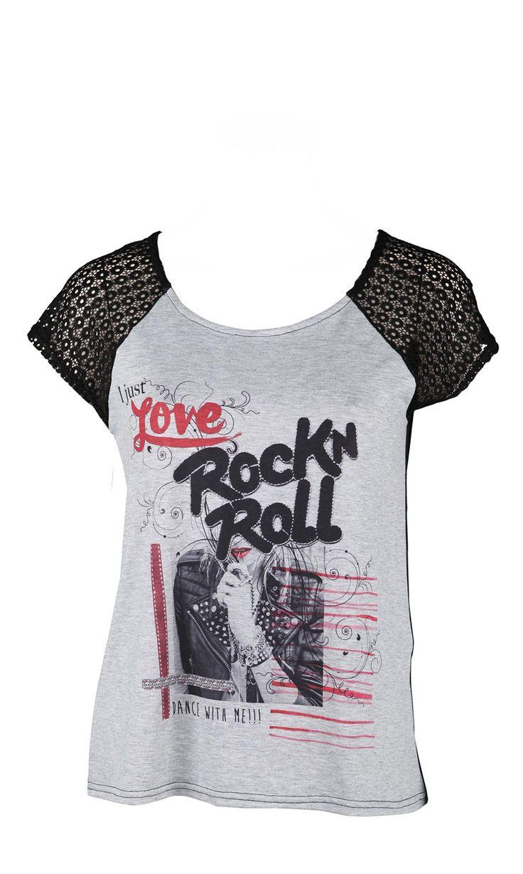 MOZZA NOIR/GRIS,t-shirt gris,manche courte dentelle noir,imprimé rock n'roll,vendu 35€ sur www.depechmod.fr