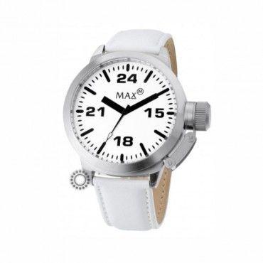 Γυναικείο quartz ρολόι MAX μεγάλου μεγέθους με βιδωτή κορώνα ασφαλείας, λευκό καντράν και λουρί. Εγγύηση 2 ετών της επίσημης αντιπροσωπείας. MAX 381 #Max #λευκο #δερμα #ρολοι