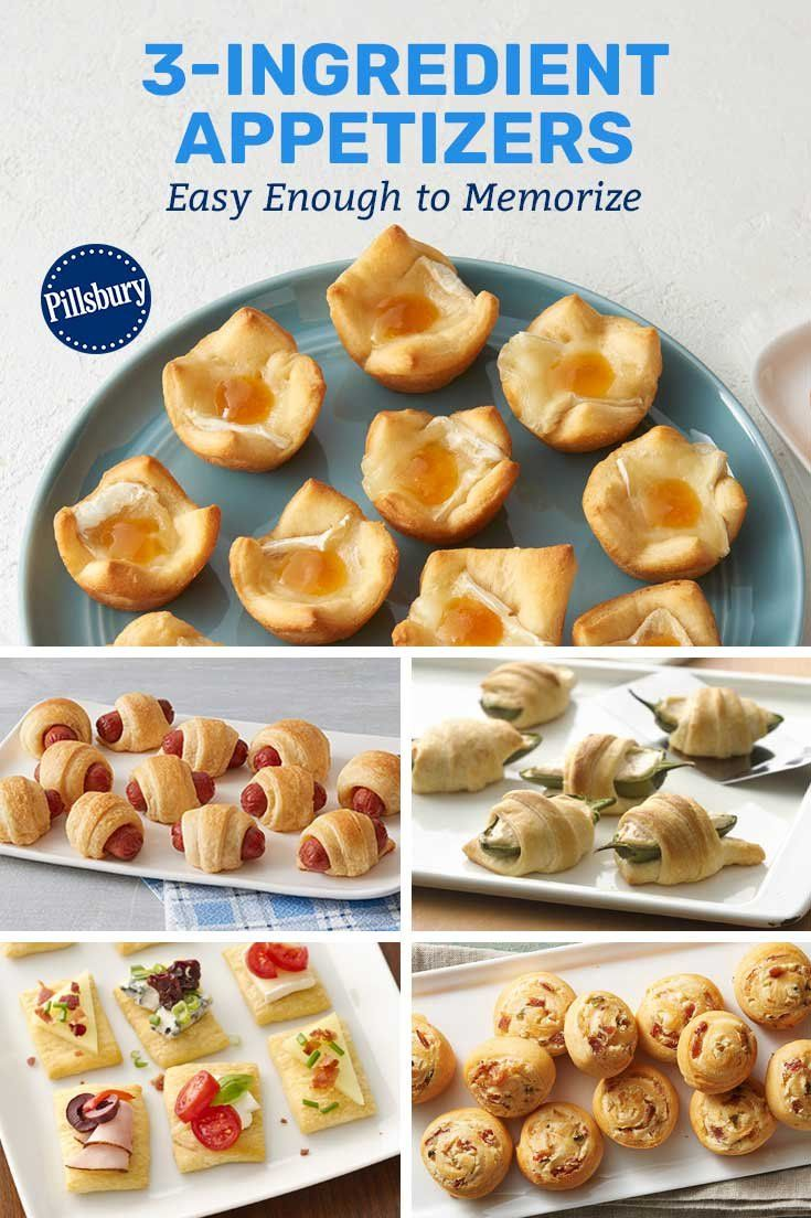 3 Ingredient Appetizers Easy Enough To Memorize Appetizers Easy Appetizers Pillsbury Recipes