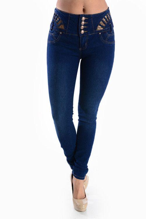 Dashing Denims Columbia Cut Push Up Style High Waist Skinny Jeans w/Gorgeous Embellishments!