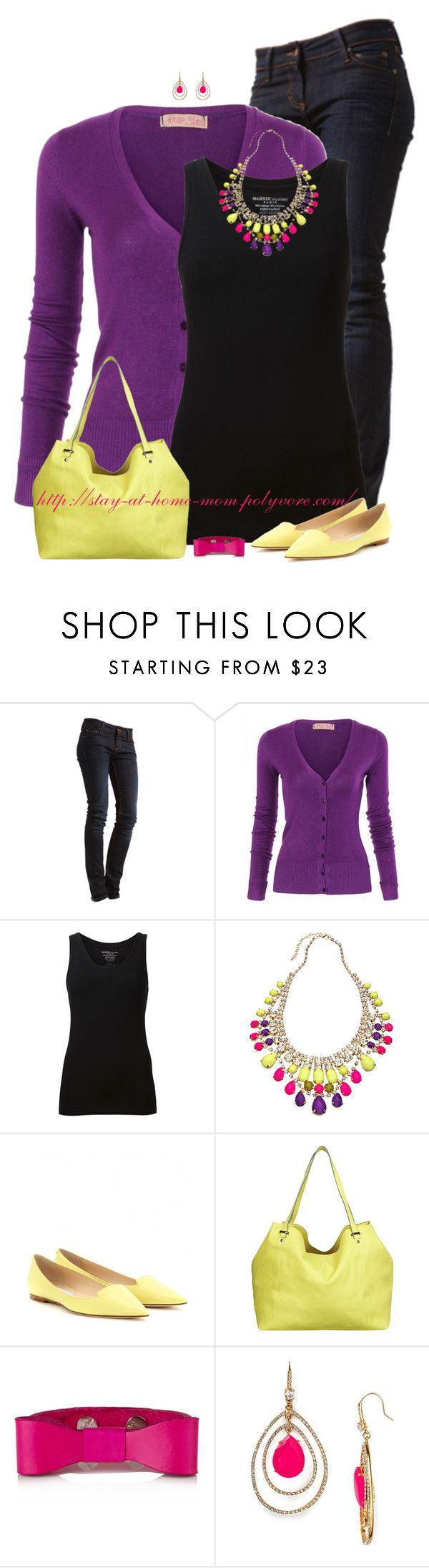 """Purple Cardigan & Colorful Jewelry"" by stay-at-home-mom ❤ liked on Polyvore featuring MUSTANG, Majestic Filatures, Blu Bijoux, Jimmy Choo, Miss Selfridge, Juicy Couture and jimmychoo"