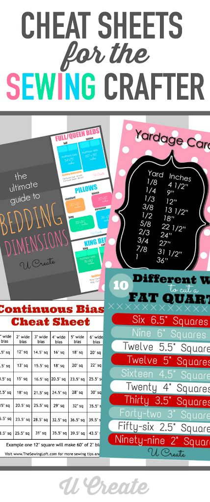 Cheat Sheets for the Sewing Crafter at u-createcrafts.com