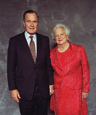President George Bush & First Lady, Barbara.