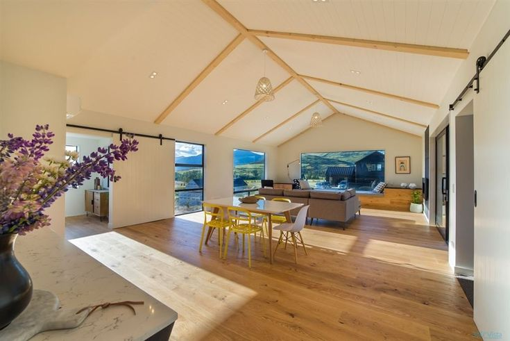 Falconer Rise, Jacks Point - Deavoll Construction | Queenstown Builders, open plan, living, dining, interior, design, architecture,