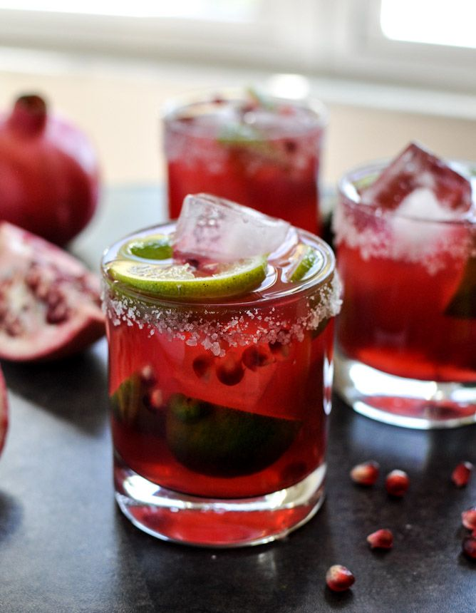 Pomegranate Margaritas - Ingredients: 2 ounces Grand Marnier, 1 1/2 ounces Tequila,