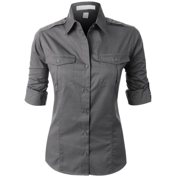 RubyK PREMIUM Womens Easy Care Roll Up Sleeve Twill Button Down Shirt (€27) ❤ liked on Polyvore featuring tops, grey, roll top, roll up shirt, roll up sleeve shirt, shirts & tops and grey shirt