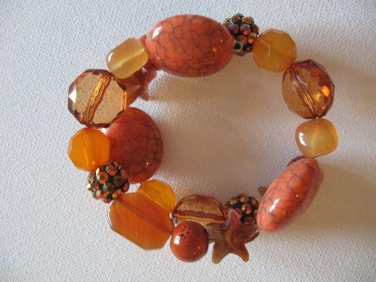 oranges & coppers - wrap around bracelet