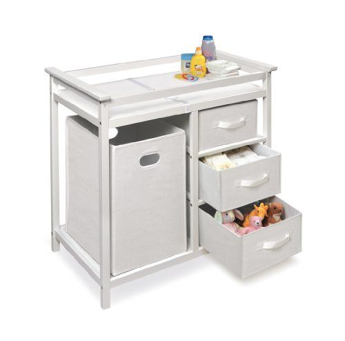 Badger Basket Modern Changing Table with 3 Baskets and Hamper, White   -Click image twice for more info - See a  larger selection of diaper changing tables at http://zbabyproducts.com/product-category/diaper-changing-tables/ -baby,kids,child, nursery,infant,baby products, baby gift ideas