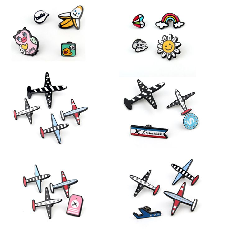 4Pcs Acrylic Cactus Plants Airplane Badges Brooches For Womens Jewelry Collar Tips Rainbow Heart Lapel Pins Piercing Brooch