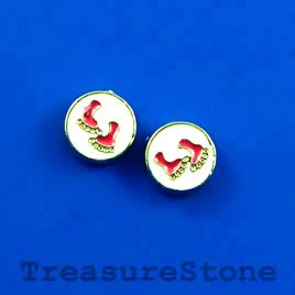 Floating charm, silver-finished, 8mm two feet. #TreasureStone Beads Edmonton.