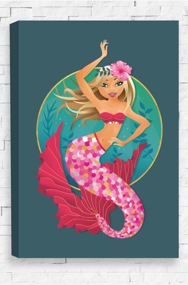 Majestic Mermaid, an elegant portrait of a mermaid on a plain background with the depths of the sea setting the mood. A detailed illustration printed on a ready to hang canvas.