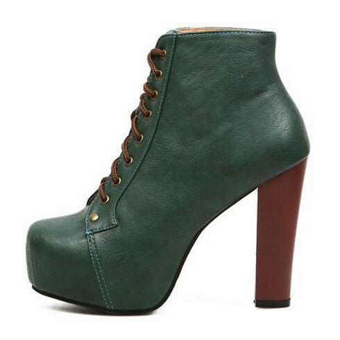 2014 мода женщин туфли на платформе коренастый шипами туфли на каблуках панк обувь пинетки лита ботильоны на высоком каблуке зашнуровать т ремень туфли на высоком каблуке пинетки, принадлежащий категории Сапоги и ботинки и относящийся к Обувь на сайте AliExpress.com | Alibaba Group