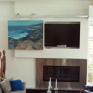 Yes!!! I hate staring at big black flat screen TVs. This artwork on a sliding track is a great compromise.