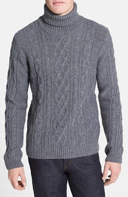 Topman Chunky Cable Knit Turtleneck Sweater