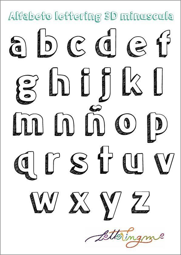 Alfabeto Lettering 3d En Mayusculas Y Minusculas Lettering Tipos De Letras Abecedario Estilos De Letras Letras Bonitas Y Faciles