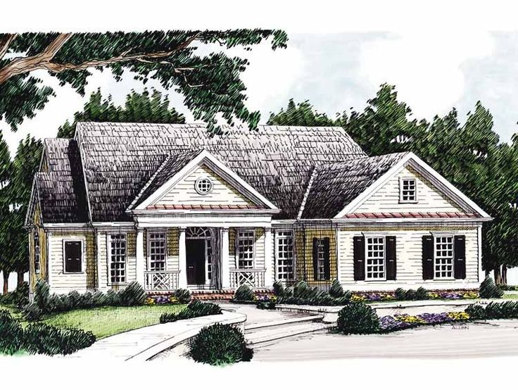 Eplans greek revival house plan country flavor 2072 for One story greek revival house plans