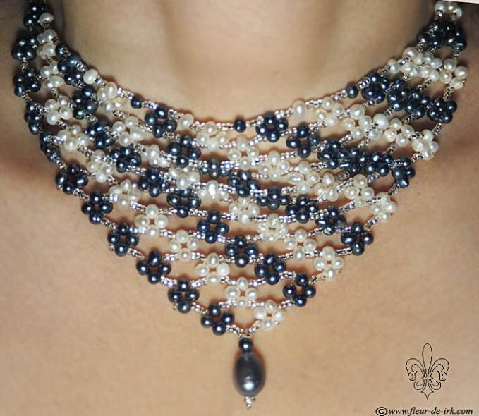Black-n-white pearl bib necklace