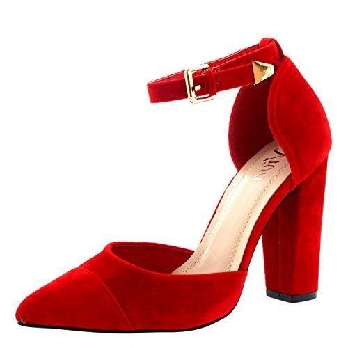Oferta: 23.99€. Comprar Ofertas de Mujer Dedo Puntiagudo Oficina Zapatos Talón De Bloque Correa De Tobillo Alto Heel Sandalia - Rojo - UK6/EU39 - KL0108 barato. ¡Mira las ofertas!