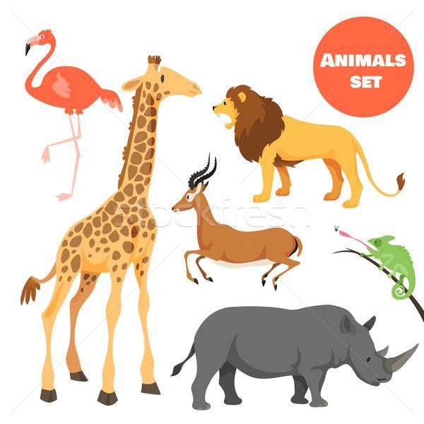 Stock fotó: Aranyos · afrikai · állatok · szett · gyerekek · rajz