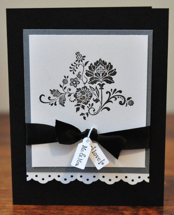 handmade wedding card ... black and white with a gray mat ... elegant look ... Stampin' Up!