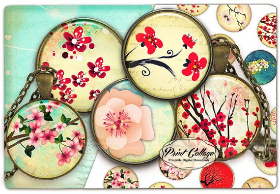 CHERRY BLOSSOM Cabochon images Digital Collage by PrintCollage