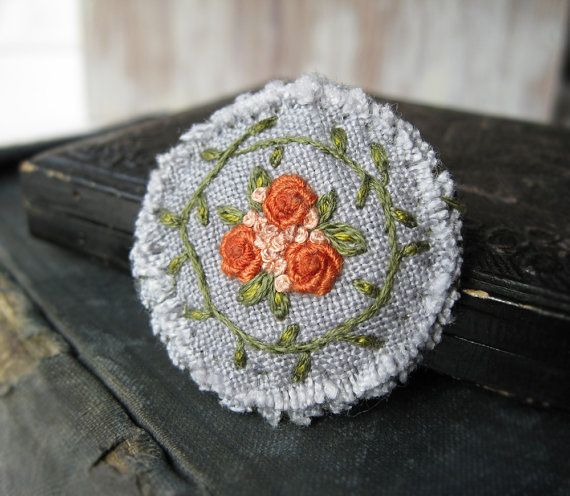 Orange Roses Fiber Brooch - Embroidered Flowers and Vines on Light Grey Linen.