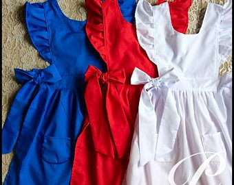 GIRLS RED PINAFORE apron Toddler Apron four weeks processing red apron blue pinafore vintage dress colonial pinafore strawberry shortcake