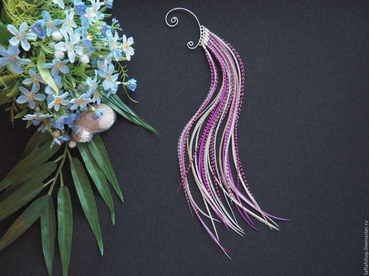 Нежный цветок - розовый кафф с длинными перьями в стиле бохо - розовый, перья, перо