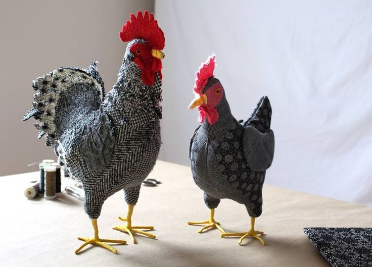 Real Sized Chicken Portraits - Textile Sculptures By Jenny Of Pet Chicken Ranch