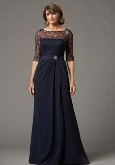 Navy Blue Illusion Back A line Chiffon Bateau Floor Length Mother of the Bride Gown - 1300106163B - US$179.99 - BellasDress