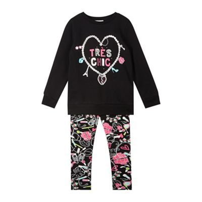 bluezoo Girl's black charm print sweater and leggings set- at Debenhams.com