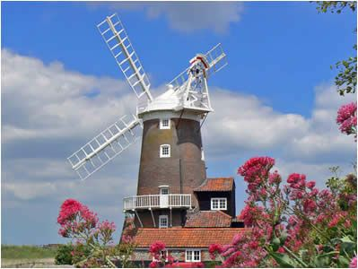 Cley Windmill ~ Cley next the Sea you will find one of the most famous landmarks on the North Norfolk Coast, its 18th century windmill. The best known miller was Steven Barnabas Burroughs, whose family worked and owned the Mill from 1840 to 1919, after which it fell into disrepair. In 1921 it was bought by Sarah Maria Wilson and converted into a holiday home.