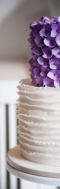 Layers of White Frills with Lilac Flowers Cake