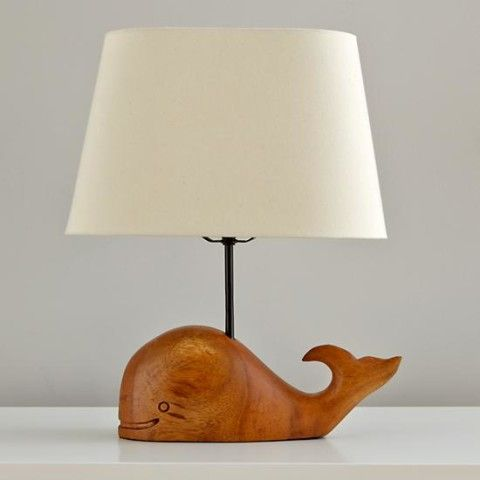 Thar She Glows Table Lamp Wooden Whale | Land of Nod
