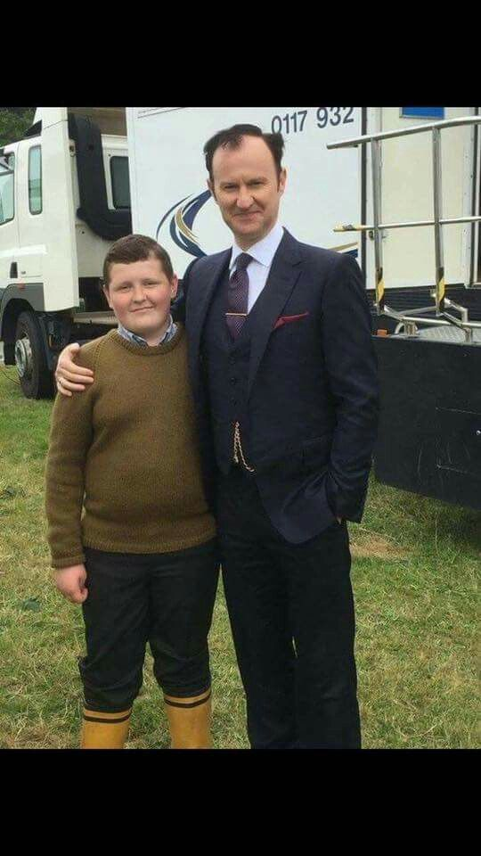 Two Mycroft's. Mark Gatiss with Aaron Richards behind the scones. Series 4.