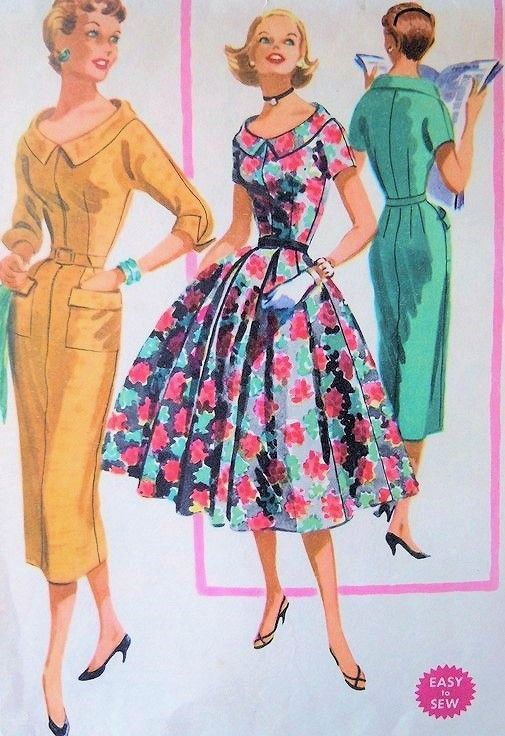 1950s Lovely Slim or Full Skirt Dress Pattern Easy To Sew McCalls 3426 Flattering Neckline Bust 32 FACTORY FOLDED